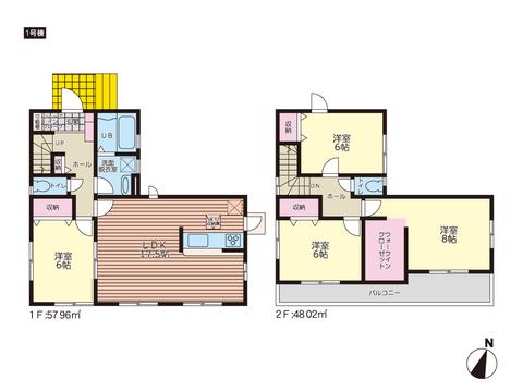 岡山市東区城東台東の新築 一戸建て分譲住宅の間取り図