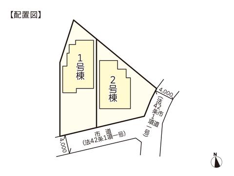 岡山市中区藤原光町の新築 一戸建て分譲住宅の区画図