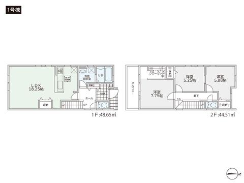 岡山県岡山市北区辰巳の新築 一戸建て分譲住宅の間取り図