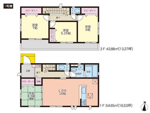 岡山県岡山市東区益野町の新築 一戸建て分譲住宅の間取り図