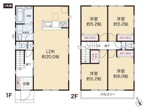 岡山県岡山市南区福成の新築 一戸建て分譲住宅の間取り図