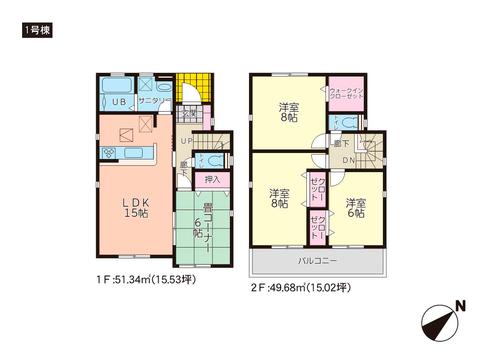岡山県岡山市東区西大寺射越の新築 一戸建て分譲住宅の間取り図