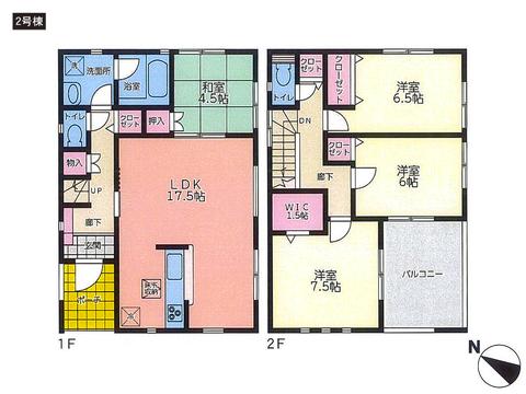 岡山県岡山市北区牟佐の新築 一戸建て分譲住宅の間取り図