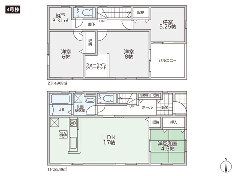 岡山県岡山市北区西長瀬の新築 一戸建て分譲住宅の間取り図