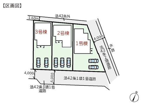 岡山県倉敷市玉島勇崎の新築 一戸建て分譲住宅の区画図