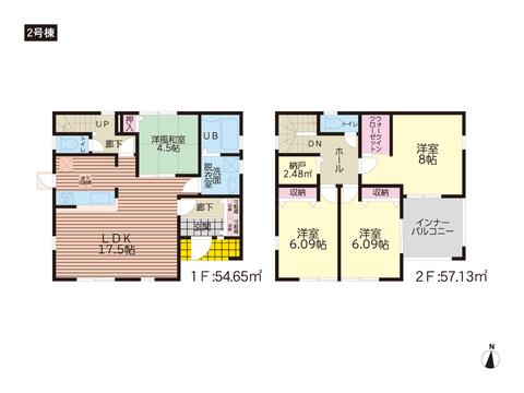 岡山市中区藤崎の新築 一戸建て分譲住宅の間取り図