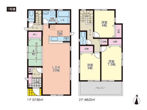 岡山県岡山市南区彦崎の新築 一戸建て分譲住宅の間取り図