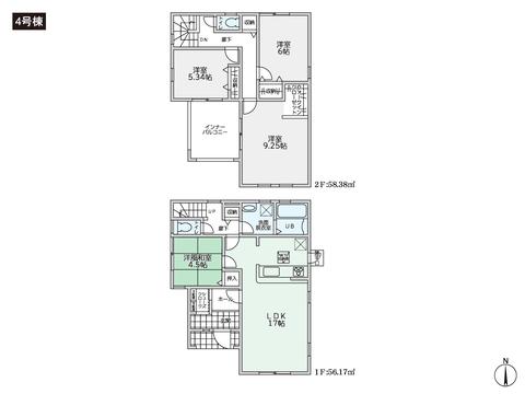 岡山県総社市総社2丁目の新築 一戸建て分譲住宅の間取り図