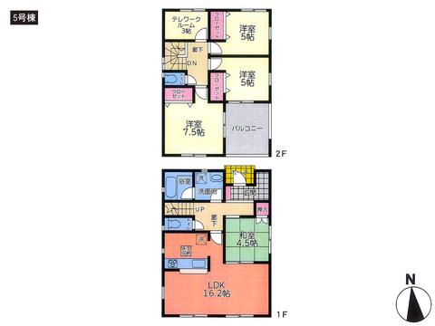 岡山県倉敷市児島唐琴4丁目の新築 一戸建て分譲住宅の間取り図