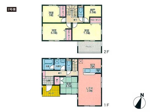 岡山県岡山市北区西辛川の新築 一戸建て分譲住宅の間取り図