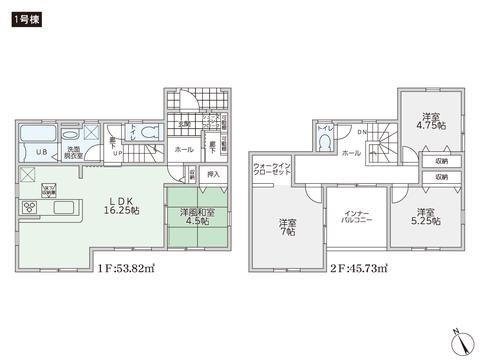 岡山県倉敷市児島味野2丁目の新築 一戸建て分譲住宅の間取り図