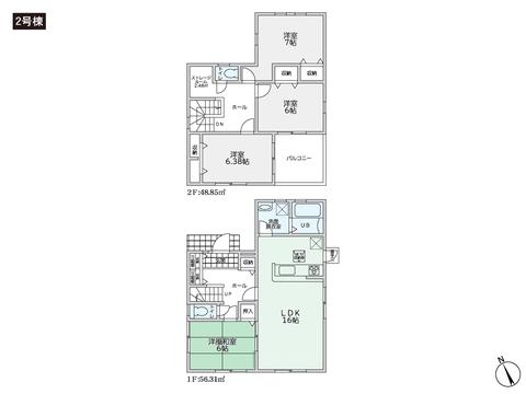 岡山県倉敷市粒江の新築 一戸建て分譲住宅の間取り図