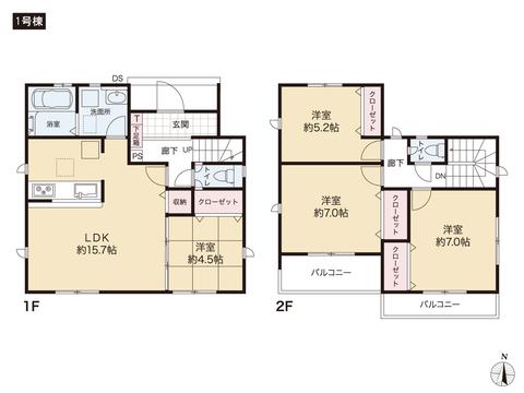 岡山県岡山市中区土田の新築 一戸建て分譲住宅の間取り図