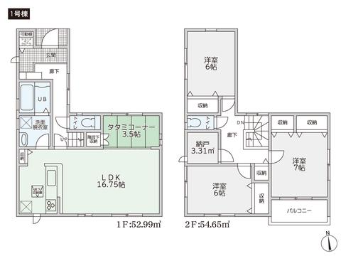 岡山県倉敷市川入の新築 一戸建て分譲住宅の間取り図