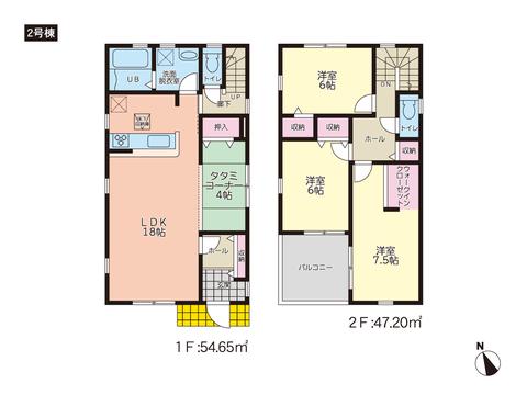 岡山市東区藤井の新築 一戸建て分譲住宅の間取り図