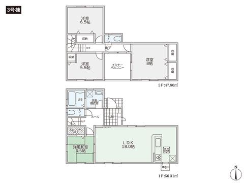 岡山県総社市西郡の新築 一戸建て分譲住宅の間取り図