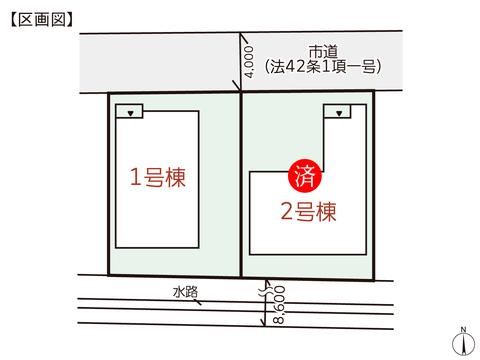 岡山県岡山市北区上中野の新築 一戸建て分譲住宅の区画図