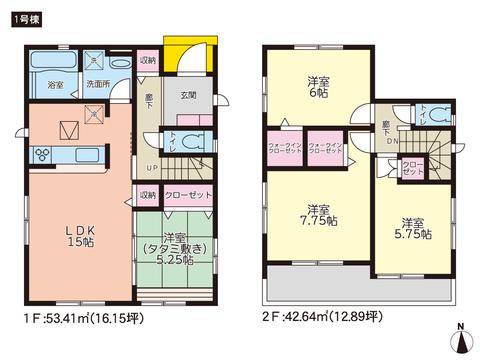 岡山県岡山市中区海吉の新築 一戸建て分譲住宅の間取り図