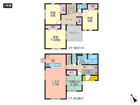 岡山県倉敷市玉島上成の新築 一戸建て分譲住宅の間取り図