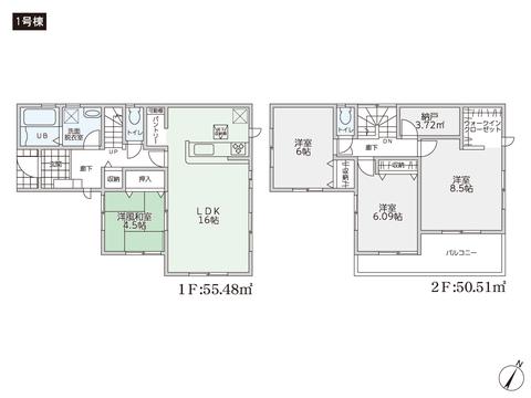 岡山県岡山市南区大福の新築 一戸建て分譲住宅の間取り図