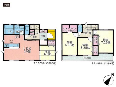 岡山県岡山市東区瀬戸町寺地の新築 一戸建て分譲住宅の間取り図