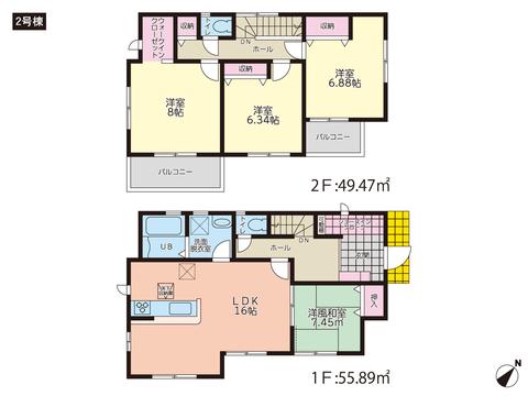 岡山県玉野市八浜町波知の新築 一戸建て分譲住宅の間取り図