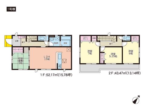 岡山県岡山市中区湊の新築 一戸建て分譲住宅の間取り図