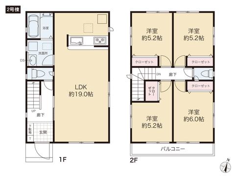 岡山県岡山市中区さい東町の新築 一戸建て分譲住宅の間取り図