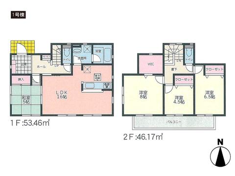 岡山県岡山市東区東平島の新築 一戸建て分譲住宅の間取り図