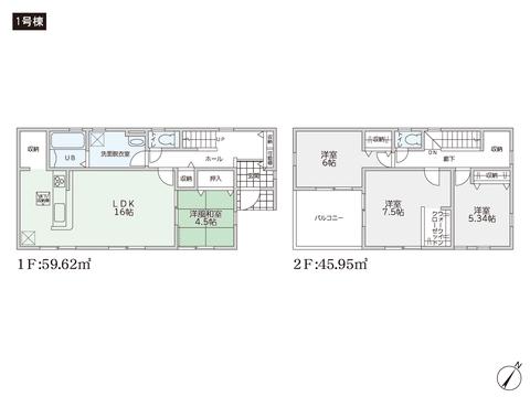 岡山県岡山市南区築港ひかり町の新築 一戸建て分譲住宅の間取り図