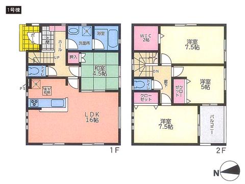 岡山県岡山市東区西大寺東の新築 一戸建て分譲住宅の間取り図