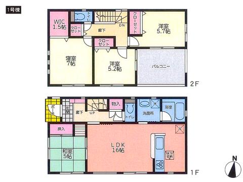 岡山県都窪郡早島町若宮の新築 一戸建て分譲住宅の間取り図