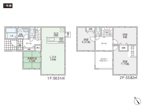 岡山県倉敷市水島南亀島町の新築 一戸建て分譲住宅の間取り図