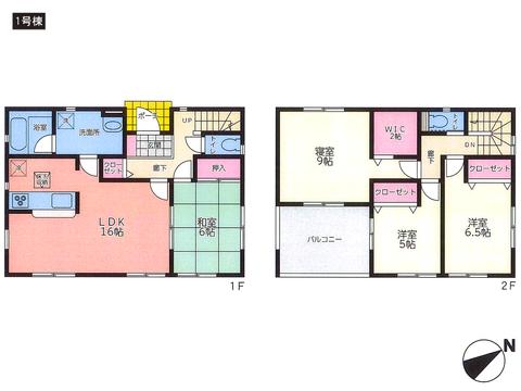 岡山県岡山市東区金岡東町の新築 一戸建て分譲住宅の間取り図