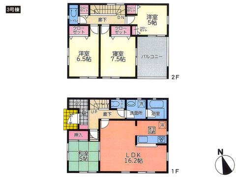 岡山県倉敷市連島町連島の新築 一戸建て分譲住宅の間取り図