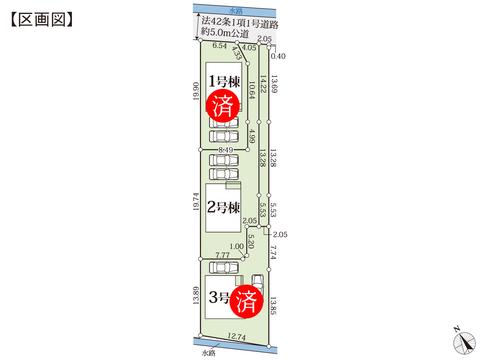 岡山県岡山市南区川張の新築 一戸建て分譲住宅の区画図