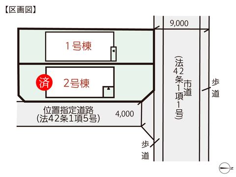 岡山県岡山市北区辰巳の新築 一戸建て分譲住宅の区画図