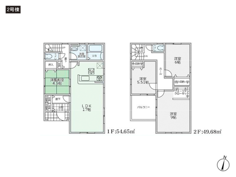 岡山県総社市駅南1丁目の新築 一戸建て分譲住宅の間取り図