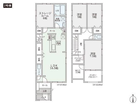 岡山県岡山市北区田中の新築 一戸建て分譲住宅の間取り図