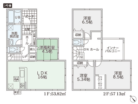 岡山県倉敷市水江の新築 一戸建て分譲住宅の間取り図