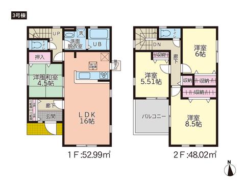 岡山県倉敷市八島の新築 一戸建て分譲住宅の間取り図