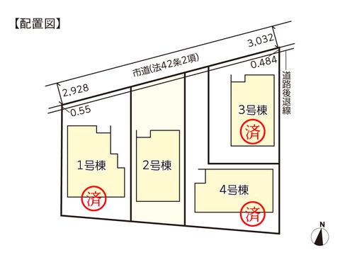岡山市南区福島の新築 一戸建て分譲住宅の区画図