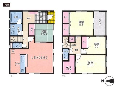 岡山県倉敷市児島上の町の新築 一戸建て分譲住宅の間取り図