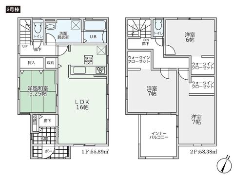 岡山県倉敷市玉島勇崎の新築 一戸建て分譲住宅の間取り図