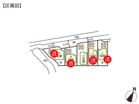 岡山県岡山市東区西大寺中野の新築 一戸建て分譲住宅の区画図