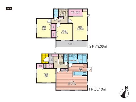 岡山市北区一宮の新築 一戸建て分譲住宅の間取り図