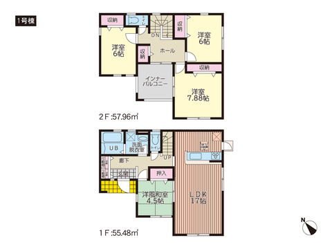 岡山県岡山市南区迫川の新築 一戸建て分譲住宅の間取り図