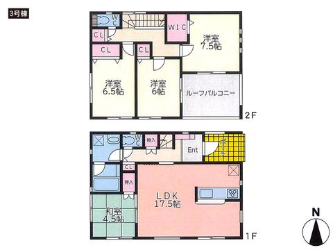 岡山県倉敷市中畝の新築 一戸建て分譲住宅の間取り図