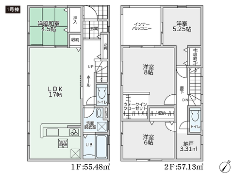 岡山県倉敷市児島田の口の新築 一戸建て分譲住宅の間取り図