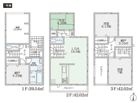 岡山県岡山市北区野田1丁目の新築 一戸建て分譲住宅の間取り図